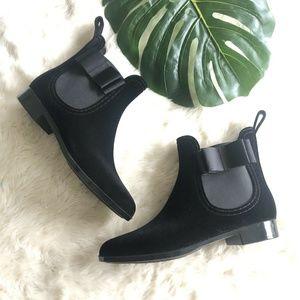 NEW Joie Reagan Black Velvet Short Rain Boot 10